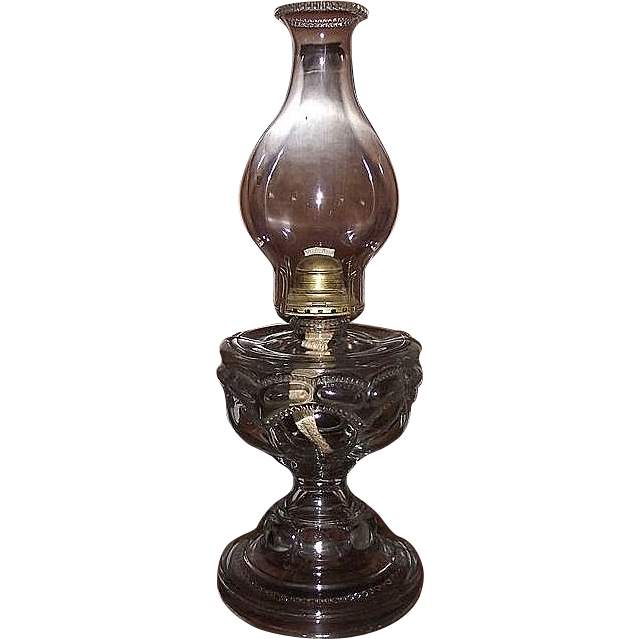 "Large "" Peanut "" Pattern Oil Lamp with a Big Bulge Chimney & Queen Ann Burner !  Ca. 1911."