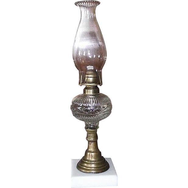 "Triple Rare  ""Diamond Band & Fine Rib"" Pattern Oil Lamp with White Glass Base, & Fluted Glass Zero Chimney !!! Ca. 1865."