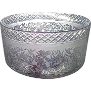 Superbly Hand Cut & Acid Etched Decorated 4 inch Glass Shade for Oil Lamp or a Gas Light  !!!   Ca. 1895.