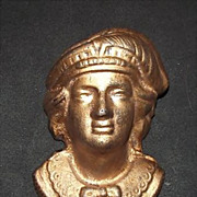 "Columbian Exposition period  Bust of  ""Christopher Columbus"" Cast Iron Match Holder  !!!  Ca. 1893."
