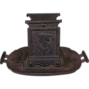 "Rare Cast Iron ""Egyptian"" Motif  Match Box Holder with Striker Edge on Tray Perimeter !"