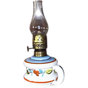 Miniature Blown Milk White Glass Finger Lamp with Original Hand Decorated Flowers !