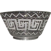 """Mint Blown 4 inch Flared Glass Shade with a Classical """"Greek Key"""" Motif  Design !!! Ca. 1890."""