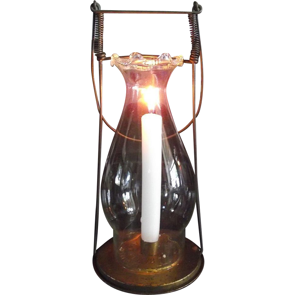 """1894 """"Fred Fear"""" Candle Lantern Patented in 1894 with Fancy Pie Top Chimney."""
