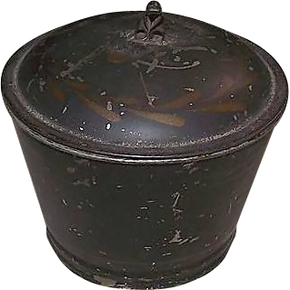 Tin Decorated Toleware Sugar with Covered Lid !!!      Circa 1870's.