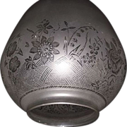 """Mint Blown Glass Shade Frosted & Acid-Etched """"Basket of  Flowers""""  Pattern for a Hanging Hall Oil Lamp with a 4 3/8 inch Fixture."""