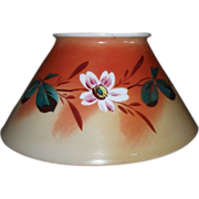 Antique Blown Glass Slant Shade with Original Artist Painted Flower Decoration ! Ca. 1890.