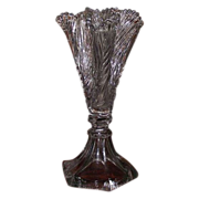 "Rare Sandwich Glass ""Leaf Trefoil Flower Vase"" Pattern with Tapered Hexagon Base Ca. 1830's."
