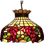 Stained Glass Light with Grape Motif & Solid Brass Hanging Chain Ca. 1920 !!!