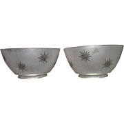 "Matching Pair of  Frosted ""Cut to Clear Starburst"" Pattern Gas Shades with 4 inch base Fitters !!!  Ca. 1900."