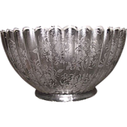 "Ribbed with Acid Etched ""Floral Decorations"" Gas Shade with 4 inch Base Fitter. Ca. 1910."