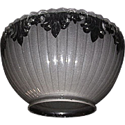 "Bevel Cut Top Edge Gas Shade with Back Frosted ""Clear Fleur"" Decorations with a standard 4 inch fitter. Circa 1900 !!!"