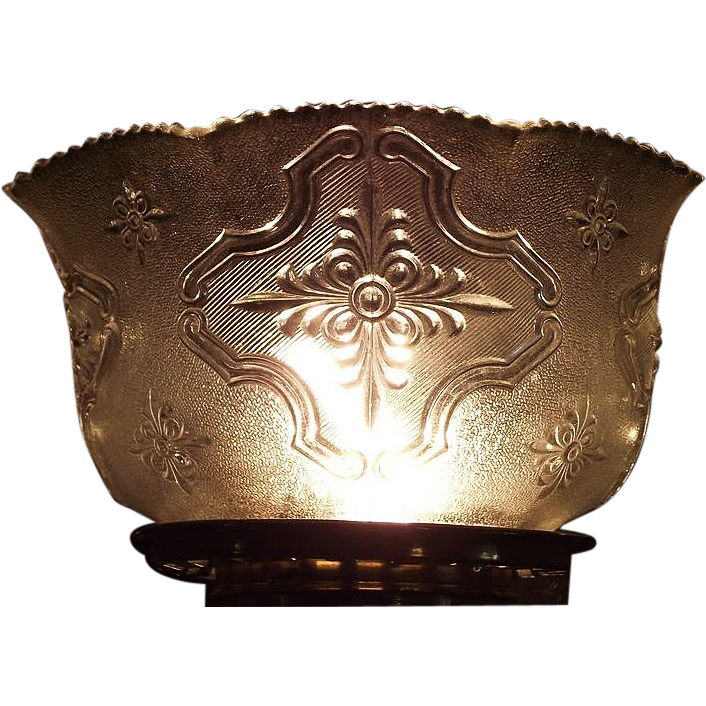 "Bright Silver Sheen with Embossed ""Raised Cartouch"" Pattern Glass Shade with Heavy Leaded content !!! Ca. 1900."