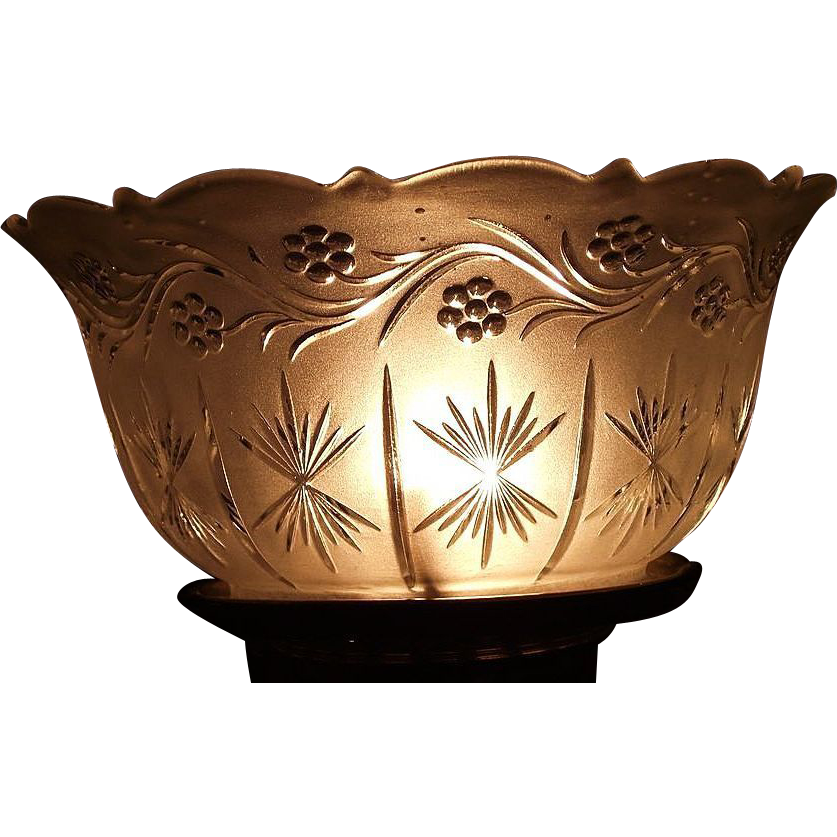"Satin Frosted ""Flowering Vine & Starburst"" Vertical Pattern with a Scalloped Top and 4 inch fitter base !!! Ca. 1900."