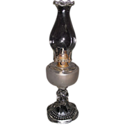 "Findlay ""Teardrop with Eyewinker Base & Frosted Fount"" Pattern Oil Lamp  & Pie Crust Chimney ! Ca. 1900."
