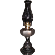 "Findlay ""Fish-Scale Base & Frosted Fount"" Pattern Oil Lamp with Frosted ""Wreath & Torch"" Chimney ! Ca. 1900."