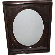 Victorian Solid Walnut Picture Frame with Gilded Incised Decorated Oval Insert ! Ca 1890.