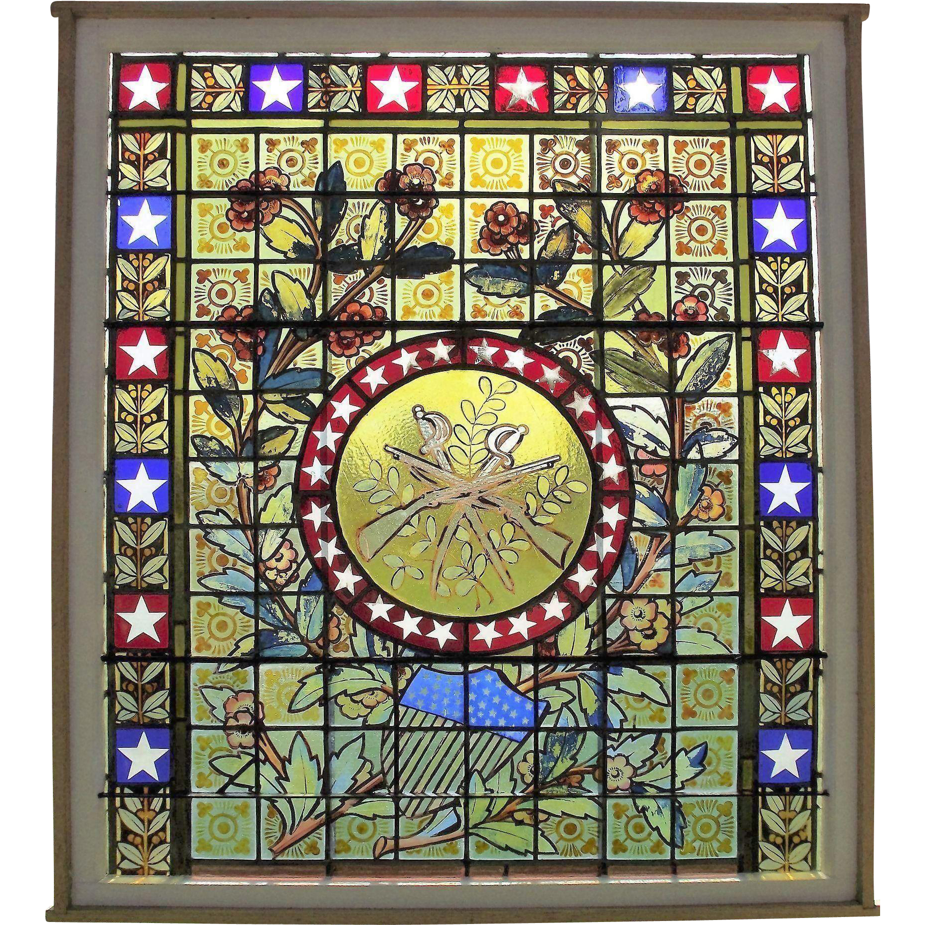 Civil War Peace Memorial Stained Glass Window with 36 Star Union Shield, Victory Wreath, with Crossed Swords & Rifles in the Central Medallion Circa 1866 !!!
