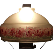 Rose Border Frosted  10 inch Shade . Circa 1940.
