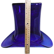 GIANT Blown Cobalt Blue Glass 10 inch Top Hat  !!!
