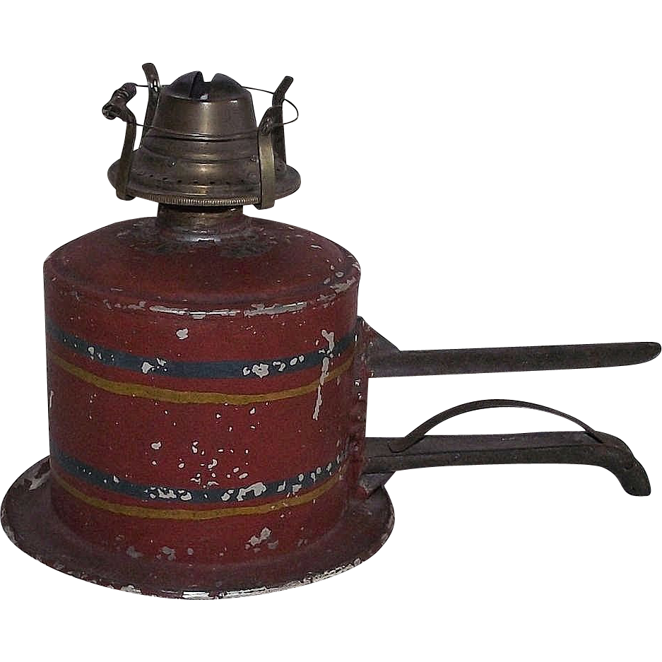 Rare Shelf Clamping Oil Lamp  with Mint Unused Snapp Chimney !!! Ca. 1870's.