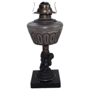 "Gothic Figural Stem ""Grape Harvest"" Pattern Oil Lamp !!! Ca. 1880."