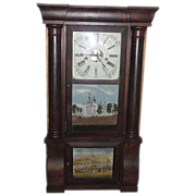 Civil War Period Triple Decker  8 Day E.N. Welch Clock with New York Crystal Palace & State Capitol Albany Decorated Glasses !!!  Ca. 1858 to 1864.