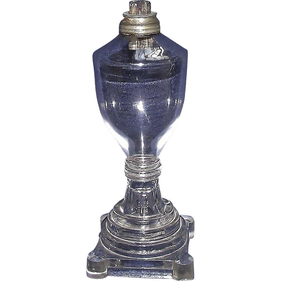 Sandwich Free Blown Fount and Molded Base Oil Lamp with a Pewter Whale Oil Burner & Collar  !!!  Ca. 1840.