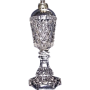 "Sandwich Glass ""Pressed Flattened Sawtooth"" Pattern Whale Oil Lamp with Hexagon Stem & Base !!! Ca.1855."
