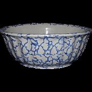 Blue Sponge Decorated Stoneware Bowl !!! Ca. 1890.