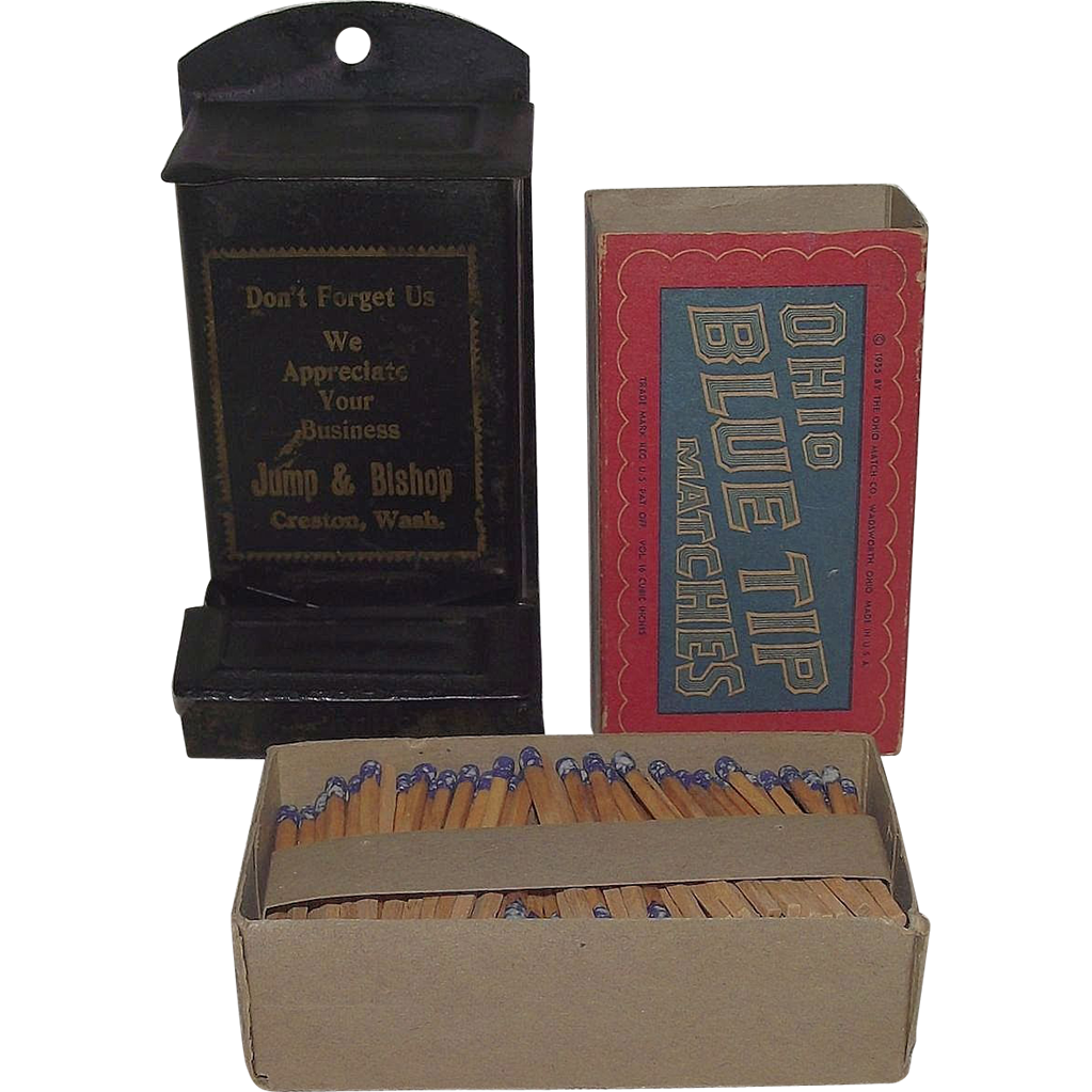 """Advertiser """"Jump & Bishop"""" Wall Match Safe & Full Box of """"Ohio Blue Tip"""" Matches !  Ca. 1915."""