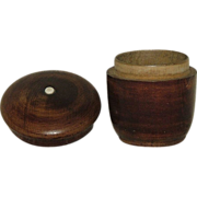 """""""Acorn"""" Shaped Treen Ware Saffron Container with Inlaid Mother of Pearl Dot !!!"""