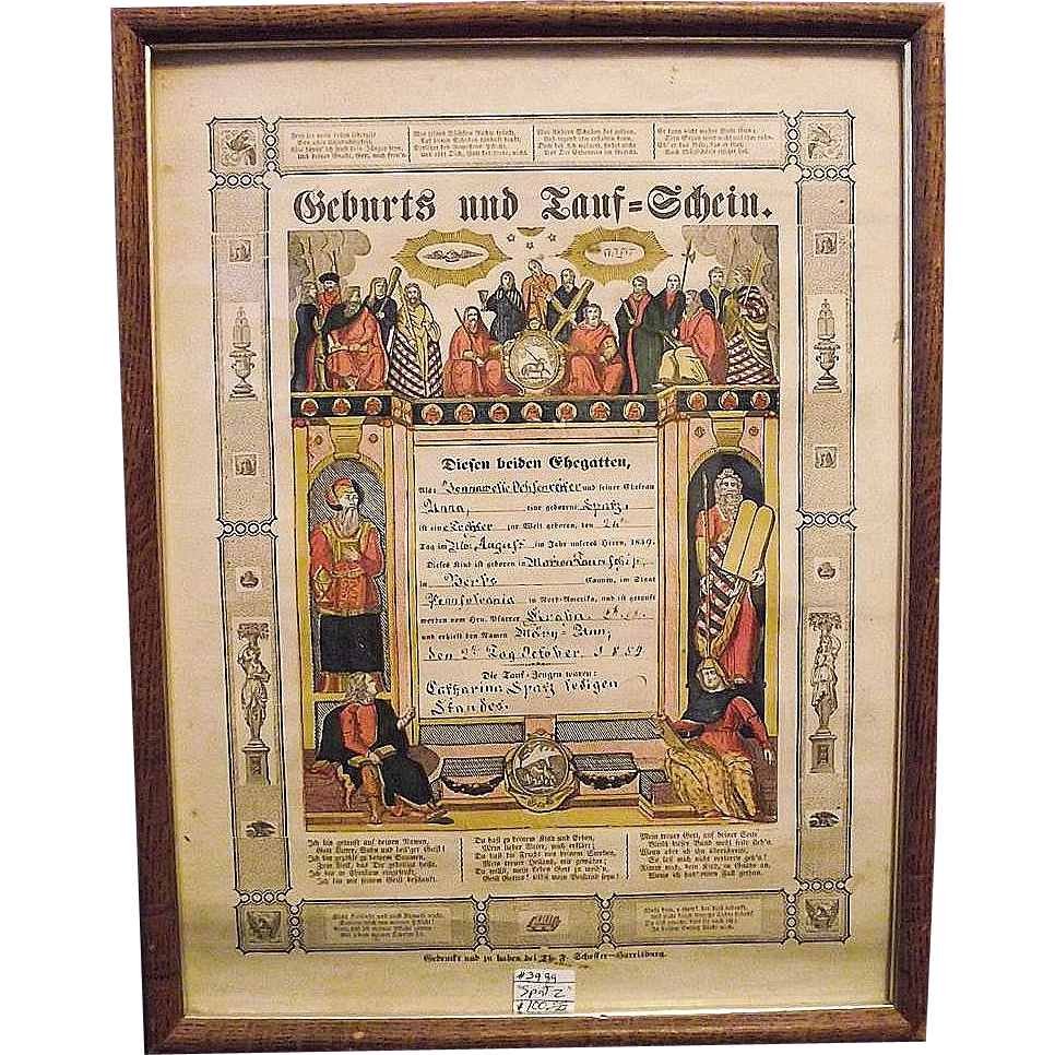 "Pre-Civil War Pa. Dutch Birth & Baptismal Certificate ""Geburts und Tauf - Schein"" for Anna Spatz 1859 !!!"
