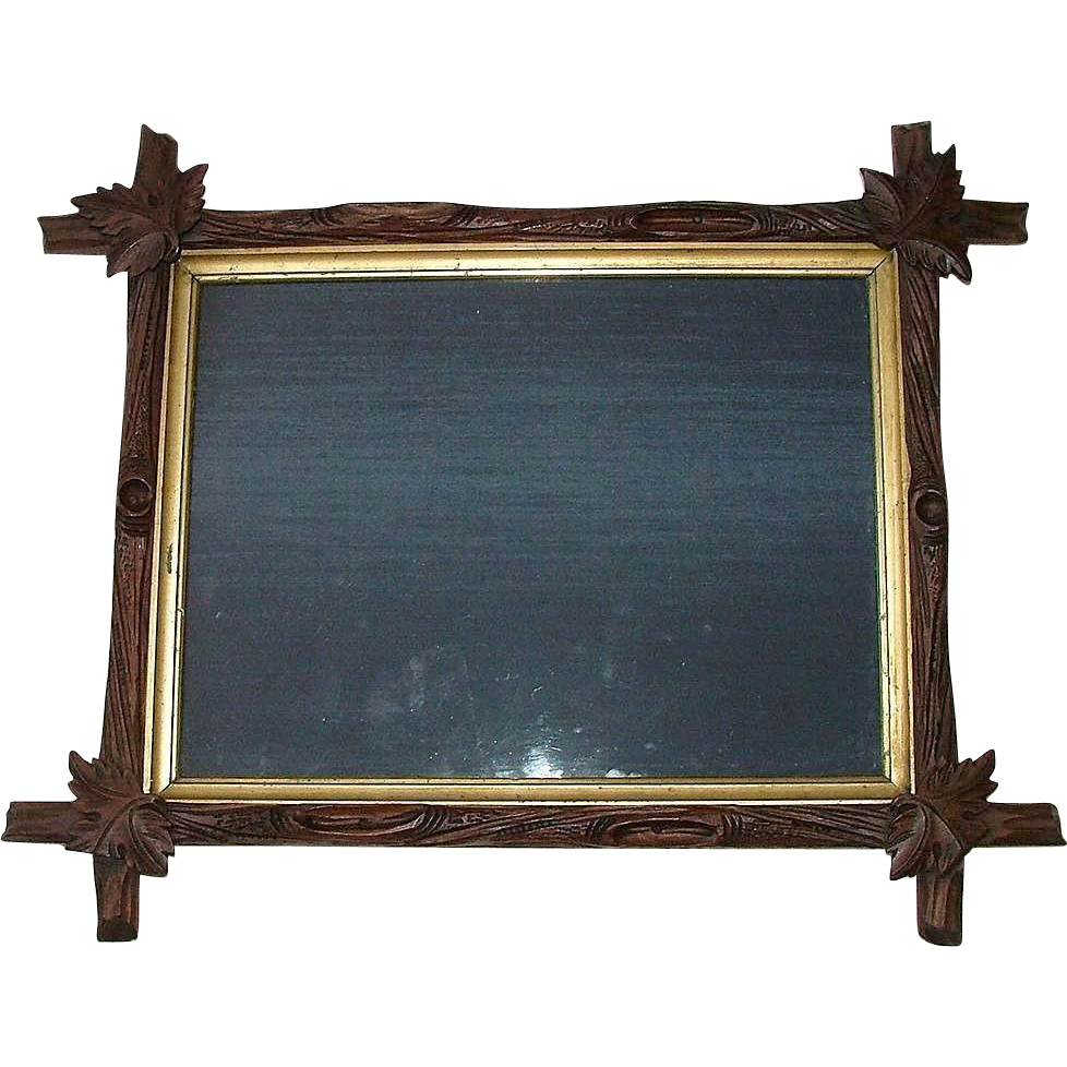 "Large Deeply Carved ""Arts And Crafts Period"" Black Forest Walnut Stick Picture Frame !!! Ca. 1880."