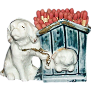 German Bisque / China Cocker Spaniel with Dog House Match Holder !