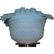 Satin Frosted Blue fading to White Hobnail Shade with Roller Coaster Top Ruffles !!! Ca. 1890 with 4 inch Flange Lip Fitter.