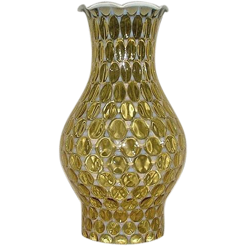 Amber Coin Dot Pattern #2 Chimney with White Opalescent Background & Crown !!!  Ca.1948 to 1960.