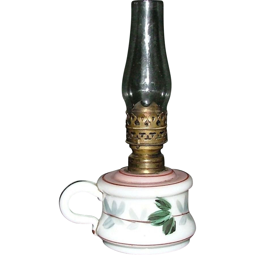 "Bristol Miniature Oil Lamp with ""Grape & Leaf"" Pattern with Applied Finger Loop ! Ca. 1900."
