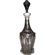 "Civil War Period ""Tulip & Sawtooth "" Pattern Flint Glass Quart Decanter with a mis-matched Blown Stopper. Ca. 1860's"