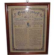 German House Blessing Dated 1783 in Oak Frame  !!!