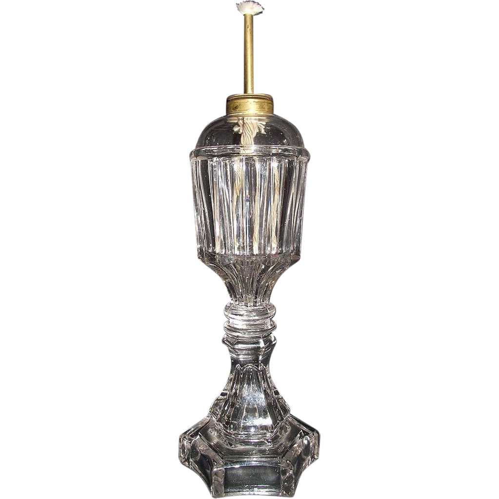 "Rare  ""Prism"" Pattern Fluid Lamp with Camphene Burner !!!"