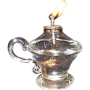 Miniature Free Blown Glass Sparking Lamp with Applied Finger Loop & Pewter Drop-In Burner !!!  Circa 1840