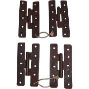"Two Sets of ""H"" Hinges for Cupboard Doors !!! Circa 1860."