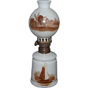 "Miniature Oil Lamp with ""Sail Boat & Barn""  with correct Ball Shade ""Wind Mill & House"" Brown Patterns on Milk White Glass Circa 1900 !!!"