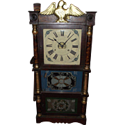 "Pre-Civil War Period Eagle Top Triple Decker Clock with 8 Day ""Birge, Peck & Co."" Original Decorated Glasses !!! Ca. 1849 to 1859."