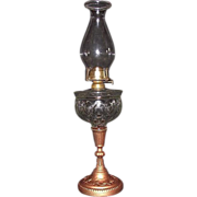 """LOMAX"" Patented Oil lamp with ""Fireside"" Burner & Unique Chimney !!! Ca. 1870's."