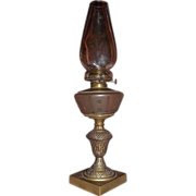 "Rare ""Drummond"" Burner on a ""Double Dots & Bars"" Engraved Pattern on a Frosted Fount Oil Lamp !!!"