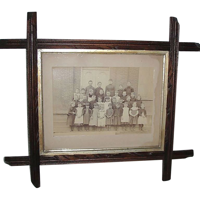 Harrisburg, Pa. Walnut Tramp Art Framed 8 by 10 inch Class photograph by John M Patterson !  Ca. 1895