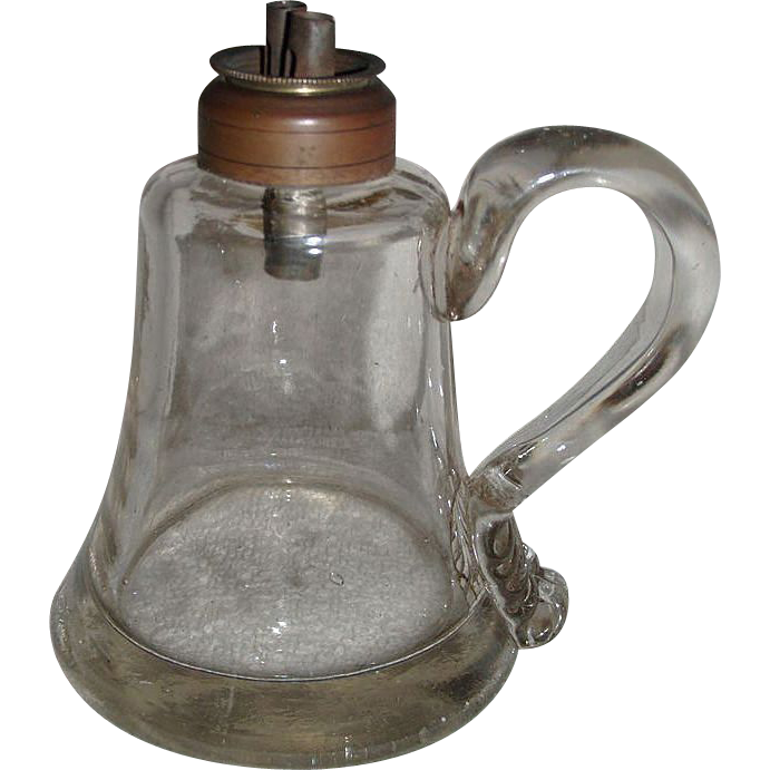 Whale Oil Sparking Lamp with Gaffer's Signature applied Finger Loop ! Ca. 1860