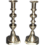 Matching Pair of 19th century Cast Brass Candle Stick Holders. Circa 1855.